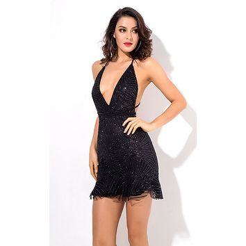 Light A Fire Black Glitter Geometric Pattern Sleeveless Spaghetti Strap Plunge V Neck Backless Ruffle Bodycon Mini Dress