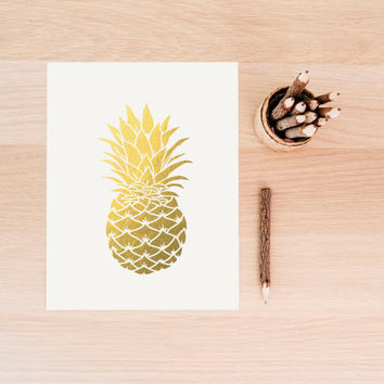 Faux gold foil pineapple printable wall art decor minimalist art faux gold foil art for office or bedroom GOLD FOIL PINEAPPLE Gold Fruit Art