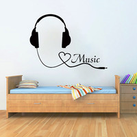 Wall Decals Music Decal Vinyl Sticker Headphones Heart Decor Home Bedroom Hall Studio Interior Design Art Murals MN408