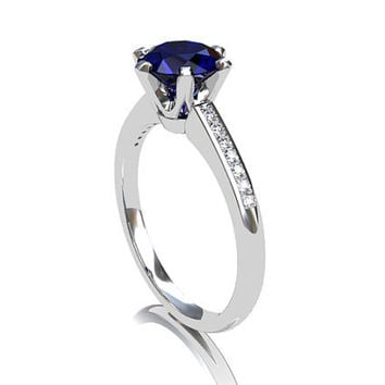 Blue sapphire ring, Diamond, white gold, Blue, engagement ring, solitaire, sapphire, yellow gold, blue engagement, micro pave