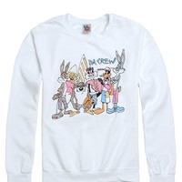 Junk Food Looney Tunes Crew Fleece - Mens Hoodie - White