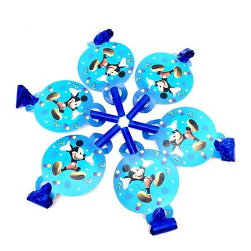 6PCS Cartoon mickey mouse Theme Blow out Party Noise Maker Baby Happy Birthday Party Supplies Toys Boy Favor Horn for kids