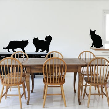 Cats silhouette animal wall decal (3 cats)