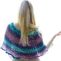 Capelet with open stitch and ruffles african violet to mint, Anemone, spring fashion under 50