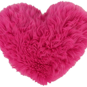 Hot Pink Faux Fur Heart Shaped Decorative Pillow Valentines Day Gift - Small Size