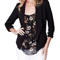 LE3NO Womens Open Front Ruched 3/4 Sleeve Blazer Jacket with Stretch