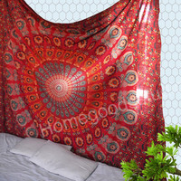 red peacock mandala wall hanging home decor tie dye gift items indian tapestry new arrivals gift