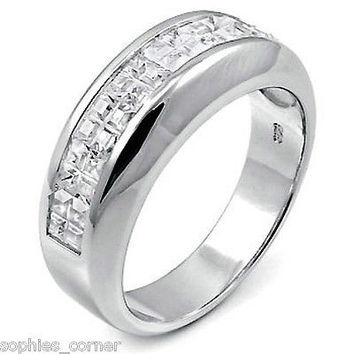 3 ct. Masculine Created Diamond Ring/band -Sterling Silver - Size 10