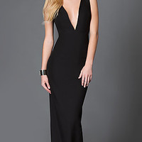 Black Open Back Long Dress with Plunging Neckline