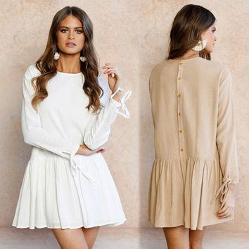 Lace Tops Chiffon Autumn Sexy Round-neck Long Sleeve One Piece Dress [125759094810]