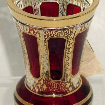 844028 Ruby Flashed Rect Panels W/Gold Trim & Gold Filigree Cutting