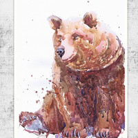 Bear , wildlife,  watercolor,  wall decor,  animal art, art print, nursery decor, mothers day gift, children art, Illustration