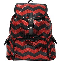 Spirit Sequin Chevron Bling Large Backpack RED and Black