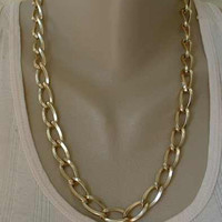 Large Link Chain Necklace Lightweight Goldtone Eloxal 23-inch Vintage Jewelry