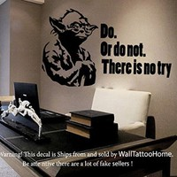 Yoda Wall Decals Quote Do Or do not Star Wars Decal Vinyl Sticker Art Home Decor Interior Design Nursery Baby Room Decor Ms718
