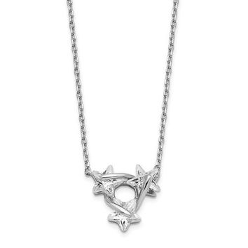"""Sterling Silver Triple CZ Star With 14"""" + 1.25"""" Ext. Pendant Choker Necklace"""