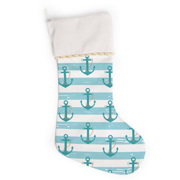 "afe images ""Nautical Anchor Pattern"" Teal Blue Illustration Christmas Stocking"