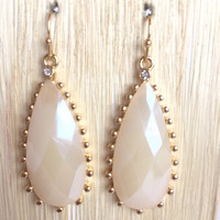Cream Frame Teardrop Earrings