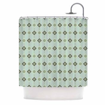"""afe images """"Triangles And Flowers"""" Blue Green Illustration Shower Curtain"""
