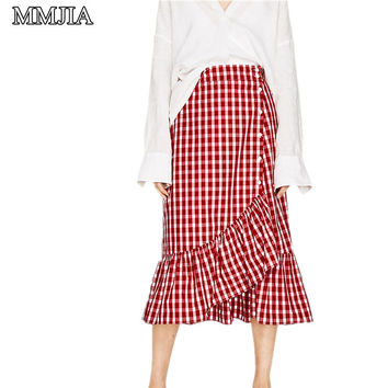 Women Sweet Ruffles Plaid Split Skirts New Summer Beach Button Long Maxi Skirt European Ladies Fashion Casual Red Mid-calf Skirt