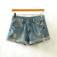 Blue Embroidered Denim Shorts