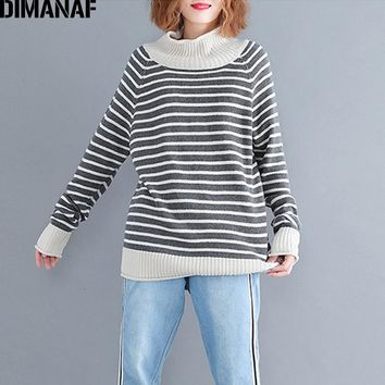 DIMANAF Women Sweater Autumn Knitting Wool Plus Size Female Lady Basic Pullovers Striped Grey Casual Turtleneck Clothing 2018