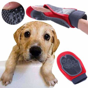 Dog Cat Hair Comb Cleaning Brush Comb Animal Dual Side Massage Hair Removal Dog Bath Glove Red Plastic Grooming Pet Poducts