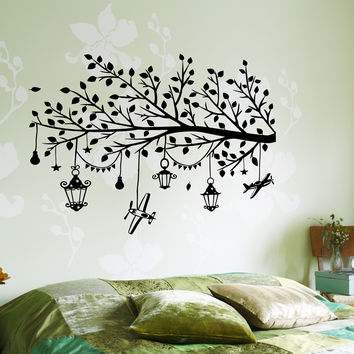 Wall Vinyl Decal Kids Room Branch With Toys Children Nursery Decor (z3650)