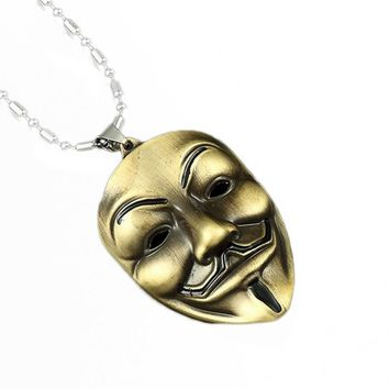 Charms V for Vendetta Link Chain Metal Necklaces Neckless Men Anime Neclace White Gold Mask Tritium Necklace Birthday Gift
