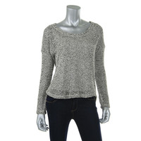 Splendid Womens Open Stitch Marled Casual Top