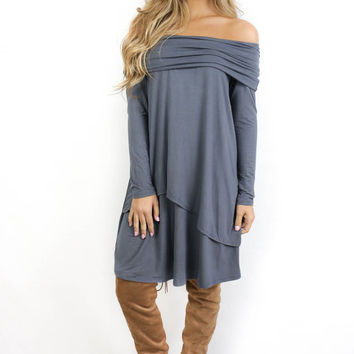 East Hampton Deep Charcoal off the Shoulder Dress