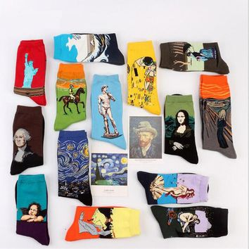 Art Printed Crew Socks