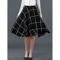 Stylish High-Waisted Plaid A-Line Skirt