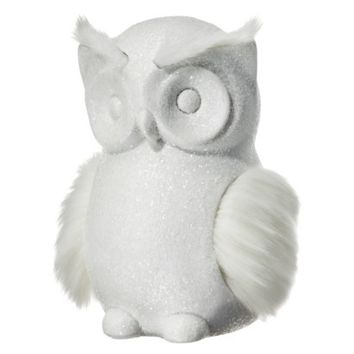 "Threshold™ Owl Figural with Faux Fur Wings - White Shimmer (6"")"