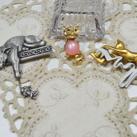 Cat Pins Brooches Vintage For The Cat Lover Lot of Three Cat Trio For The Animal Lover Figural Pins Figural Brooches Kitty Pins
