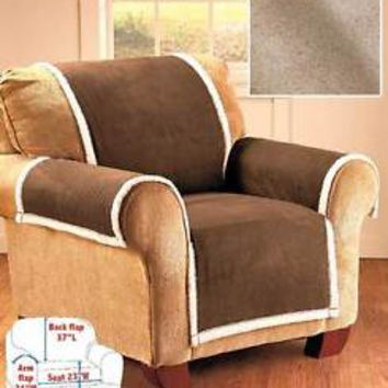 Taupe Microsuede & Sherpa Chair Cover Furniture Protector From Stains Pets Kid's