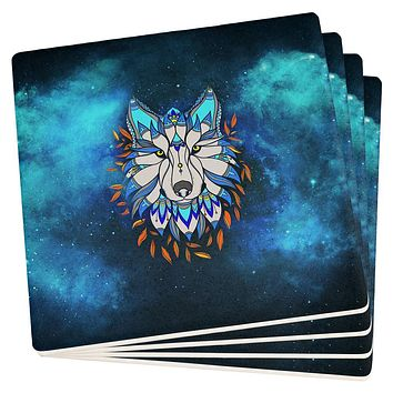 Totem Wolf is my Spirit Animal Set of 4 Square Sandstone Coasters
