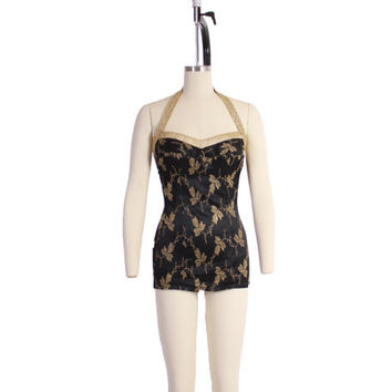 Vintage 50s Bombshell SWIMSUIT / 1950s Catalina Metallic Gold & Black Embroidered Pin-Up Bathingsuit M