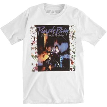 Prince Men's  Purple Rain Album Slim Fit T-shirt White