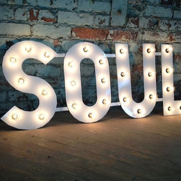 Metal letters soul light fixture 18 inch from for 18 inch metal letters