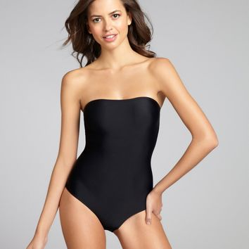 901218aa03d54 Mileti black strappy open back strapless one-piece swimsuit | BLUEFLY up to 70  off des