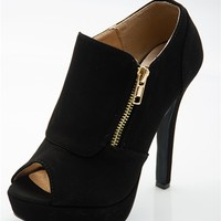 Serious Style Side Zip Peep Toe Booties - Black from Qupid at Lucky 21