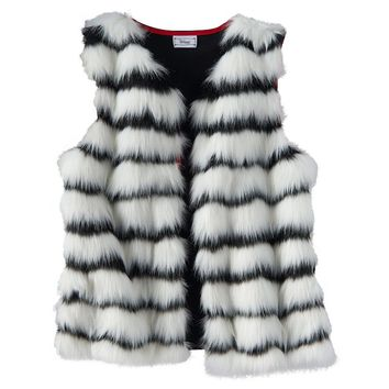 Disney D-Signed Striped Fur Vest - Girls 7-16, Size: