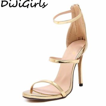 DiJiGirls women new concise simple strappy open toe ankle strap mary jane stiletto cut out sandals pump high heels gold silver