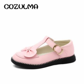COZULMA Girls Princess Party Shoes Kid Bow T-Strap Shoes Solid Color Summer Autumn Girls Sweet Flat Leather Shoes Size 27-37