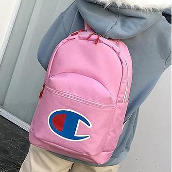 Champion Tide brand men and women embroidered letters large C logo wild fashion backpack pink