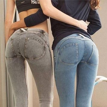 Low Waist Leggings Women Sexy Peach Hip Push Up Pants Legging High Elasticity Denim Jeans Yoga Runing Sport Pants 2017 Autumn Winter Fashion