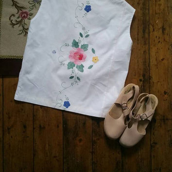 Womens embroidered top white blouse floral tops handmade clothing vintage linen blouses medium sleevless Dolly Topsy Etsy UK