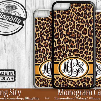 Monogram iPhone 5C 6 Plus Case iPhone 4S 5S Case Ipod 4 5 6 Brown Leopard Cheetah Personalized Cell Phone Case Animal Print