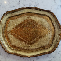 Two-Handled Florentine Tray in Gilt Cream and Brown